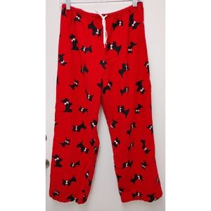 Women's Flannel Terrier Red Pajama Bottoms Size M